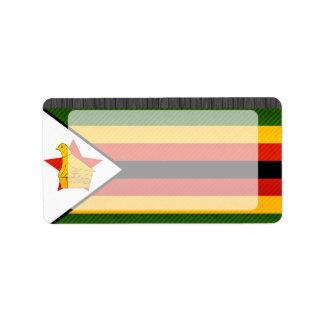 Bandera zimbabuense pelada moderna etiquetas de dirección
