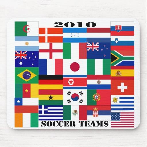 Banderas 2010 de los equipos de fútbol tapete de ratón