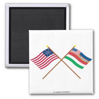Banderas 27 y 1845 estrella cruzada de los E.E.U.U Imán Para Frigorifico