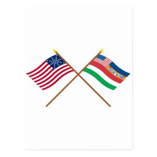 Banderas 27 y 1845 estrella cruzada de los tarjeta postal