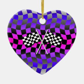 banderas a cuadros adorno navideño de cerámica en forma de corazón