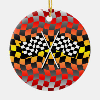 banderas a cuadros adorno navideño redondo de cerámica