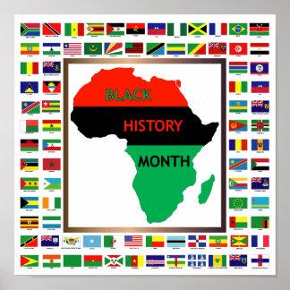 Banderas africanas y negras póster