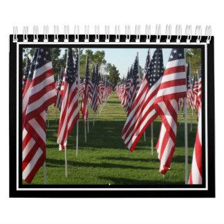 Banderas americanas 9/11 monumento calendario de pared
