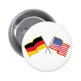 Banderas americanas alemanas pin redondo 5 cm