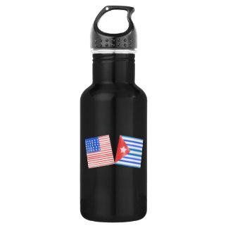 Banderas americanas cubanas botella de agua de acero inoxidable