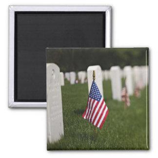 Banderas americanas en las tumbas de veteranos ame imán cuadrado