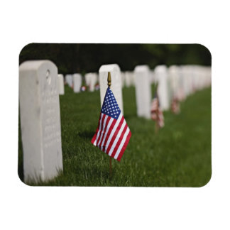 Banderas americanas en las tumbas de veteranos ame iman rectangular
