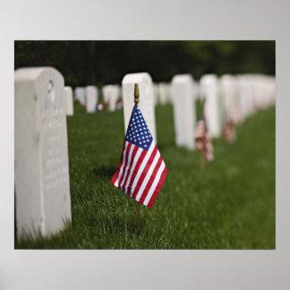 Banderas americanas en las tumbas de veteranos ame impresiones