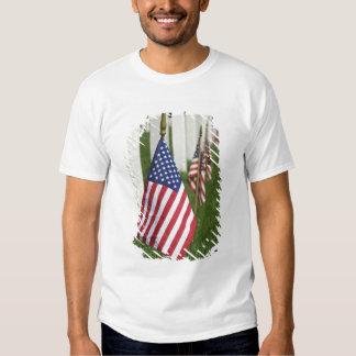 Banderas americanas en las tumbas de veteranos polera
