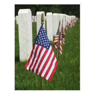 Banderas americanas en las tumbas de veteranos postal