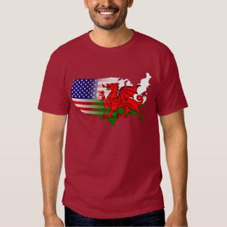 Banderas americanas Galés y camiseta del mapa Playeras