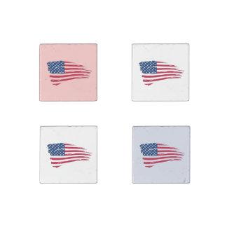 Banderas americanas hechas andrajos imán de piedra