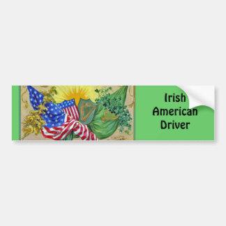 banderas americanas irlandesas pegatina de parachoque