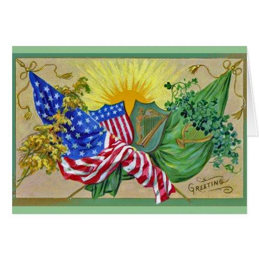 banderas americanas irlandesas felicitación
