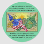 banderas americanas irlandesas pegatina redonda