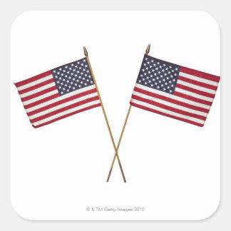 Banderas americanas pegatina cuadrada