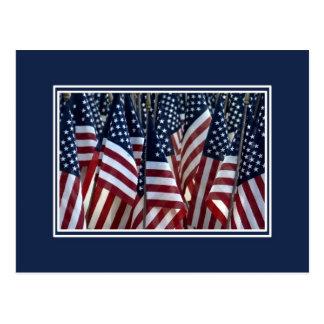 Banderas americanas tarjeta postal