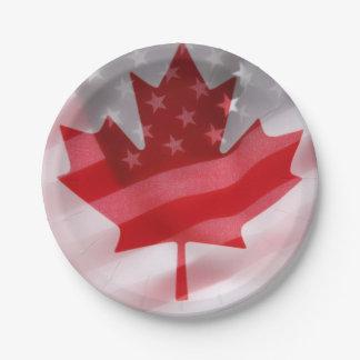 Banderas americanas y canadienses platos de papel