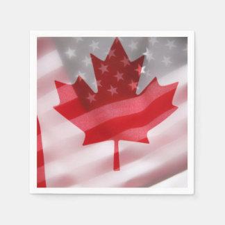 Banderas americanas y canadienses servilleta de papel