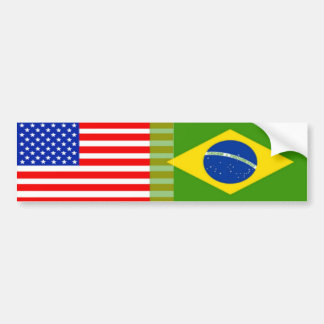 Banderas Americano-Brasileñas Pegatina Para Auto