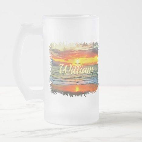 Banderas Bay Sunset 1738 Frosted Glass Beer Mug