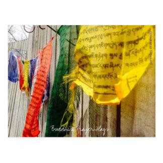 Banderas budistas coloridas del rezo - postal