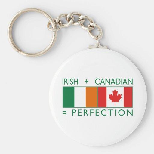 Banderas canadienses irlandesas 2 de la herencia llavero personalizado