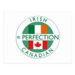 Banderas canadienses irlandesas de la herencia tarjeta postal