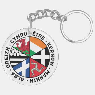 Banderas célticas de las naciones llavero redondo acrílico a doble cara
