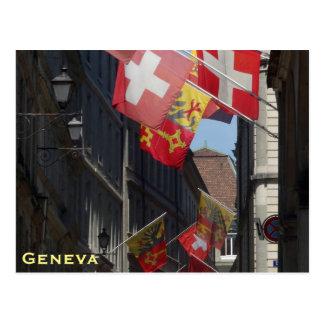 Banderas coloridas en Ginebra, Suiza Postales