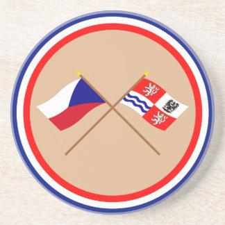 Banderas cruzadas Bohemia checas y centrales Posavasos Cerveza