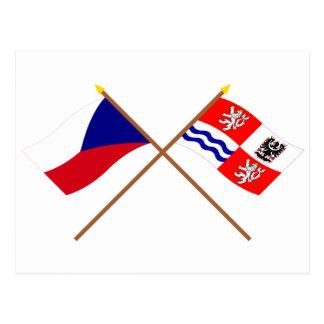Banderas cruzadas Bohemia checas y centrales Postales