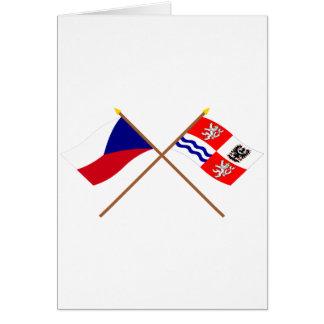 Banderas cruzadas Bohemia checas y centrales Tarjeta De Felicitación