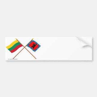 Banderas cruzadas condado de Lituania y de Telsiai Etiqueta De Parachoque