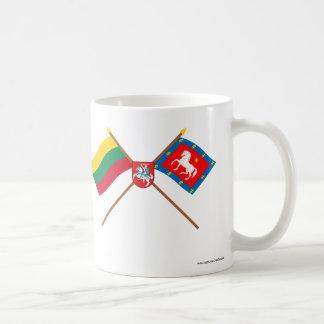 Banderas cruzadas condado de Lituania y de Utena Taza