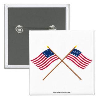 Banderas cruzadas de Alliance de Betsy Ross y de l Pin