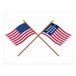 Banderas cruzadas de Alliance de los E.E.U.U. y de Tarjetas Postales