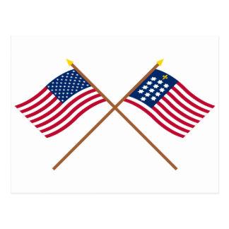 Banderas cruzadas de Alliance de los E E U U y de Tarjetas Postales