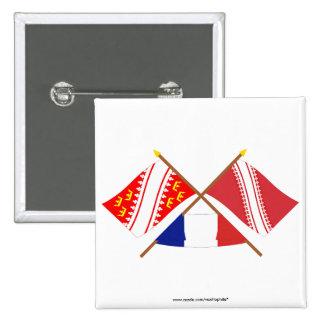 Banderas cruzadas de Alsacia y de Bas-Rhin Pin