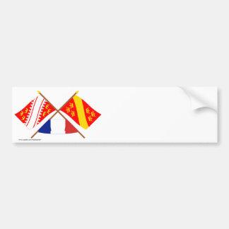 Banderas cruzadas de Alsacia y de Haut-Rhin Pegatina Para Auto