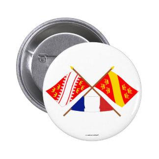 Banderas cruzadas de Alsacia y de Haut-Rhin Pins