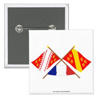 Banderas cruzadas de Alsacia y de Haut-Rhin Pin