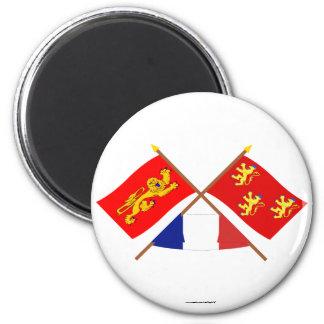 Banderas cruzadas de Aquitania y de Dordoña Imán Redondo 5 Cm