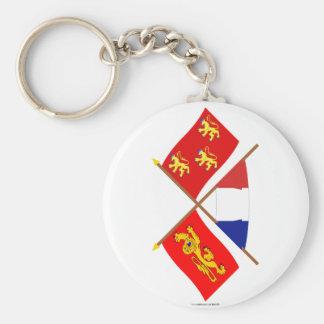 Banderas cruzadas de Aquitania y de Dordoña Llavero Redondo Tipo Pin