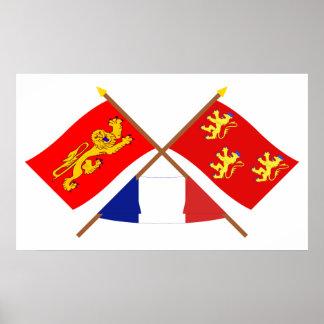 Banderas cruzadas de Aquitania y de Dordoña Poster
