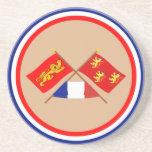 Banderas cruzadas de Aquitania y de Dordoña Posavasos Personalizados