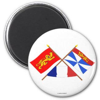 Banderas cruzadas de Aquitania y de Gironda Imán Redondo 5 Cm