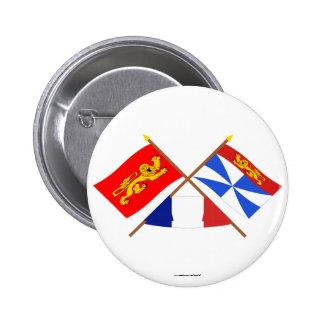 Banderas cruzadas de Aquitania y de Gironda Pin