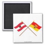 Banderas cruzadas de Austria y de Burgenland Iman De Nevera